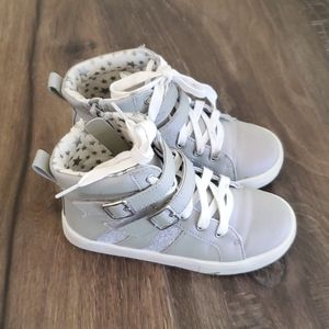Girls Silver Justice High Top Sneakers